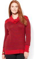 Lauren by Ralph Lauren Plus Striped Wool Blend Cowlneck Sweater - Lyst