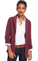 Tommy Hilfiger Belted Cable-knit Open-front Cardigan - Lyst