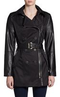 Laundry By Shelli Segal Faux Leathertrimmed Short Trenchcoat - Lyst