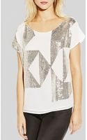 Vince Camuto Geometric Sequined Top - Lyst