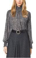 Michael Kors Tweed Print Silk Chiffon Blouse - Lyst