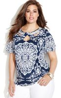 Inc International Concepts Plus Size Embellished Printed Cutout Top - Lyst