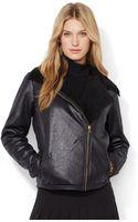 Lauren by Ralph Lauren Petite Faux Shearling Moto Jacket - Lyst