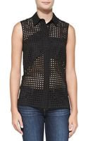 Victoria Beckham Perforated Patchwork Sleeveless Cotton Shirt - Lyst