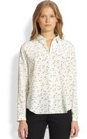 Theory Silk Printed Blouse - Lyst