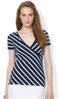 Ralph Lauren Lauren Shortsleeve Surplice Striped Top - Lyst