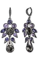 Givenchy Hematitetone  Mixed Violet Crystal Cluster Drop Earrings - Lyst