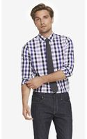 Express Fitted Plaid Dress Shirt - Lyst