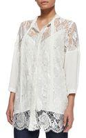 Marina Rinaldi Silk Lace Tieneck Jacket - Lyst