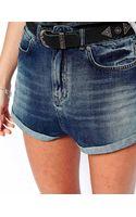 Asos High Waist Denim Shorts in Vintage Wash with Turnup Hem - Lyst
