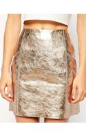Asos Mini Skirt in Metallic Leather - Lyst