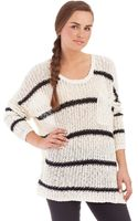 Free People Striped Loose Knit Sweater - Lyst