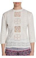Dolce Vita Embroidered Threequarter Sleeve Top - Lyst
