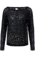 Saint Tropez Leopard Print Burnout Shirt - Lyst