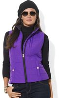 Lauren by Ralph Lauren Quilted Threepocket Vest - Lyst