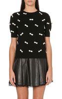 Alice + Olivia Satin Bow Embellished Sweater - Lyst