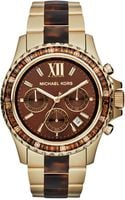 Michael Kors Womens Chronograph Everest Tortoise Acetate and Goldtone Stainless Steel Bracelet 42mm - Lyst