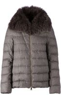 Herno Fox Fur Collar Feather Down Coat - Lyst