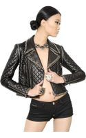 Philipp Plein Embellished Quilted Nappa Leather Jacket - Lyst