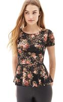 Forever 21 Floral Lace Peplum Top - Lyst
