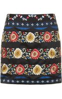 Topshop Floral Embroidered A-line Skirt - Lyst