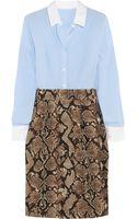 Altuzarra For Target Pinstriped Crepe De Chine and Pythonprint Twill Shirt Dress - Lyst