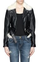 McQ by Alexander McQueen Shearling Leather Biker Jacket - Lyst