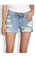 Rag & Bone Distressed Rolledcuff Denim Shorts - Lyst