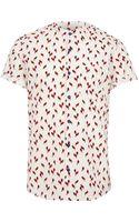 River Island White Parrot Print Grandad Shirt - Lyst