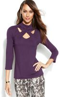 Inc International Concepts Mock-neck Cutout Top - Lyst
