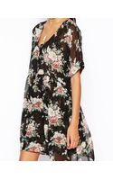 Asos Double Layer Dress in Floral Print - Lyst