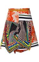 Preen Red Flower Scarf Printed Crepe Viscose Aret Skirt - Lyst