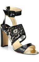 Manolo Blahnik Patent Leather Lace Sandals - Lyst