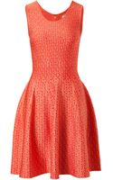 Issa Jacquard Eye Print Dress in Coral - Lyst