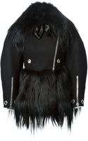 Alexander McQueen Goat Fur Paneled Biker Jacket - Lyst