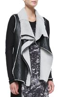 DKNY Asymmetric Zip Leather  Shearling Vest - Lyst