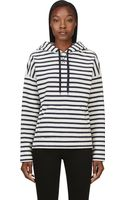 T By Alexander Wang Navy and Ivory French Terry Hooded Sweatshirt - Lyst