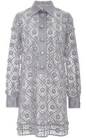 Marc Jacobs Putty Diagonal Embroidery Shirt Dress - Lyst