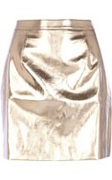River Island Rose Gold Metallic Leatherlook Mini Skirt - Lyst