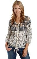 Lucky Brand Hannah Floral Print Peasant Top - Lyst