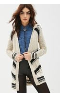 Forever 21 Striped Fringe Cardigan - Lyst