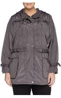 Betsey Johnson Hooded Oversized Weatherresistant Anorak Steel - Lyst
