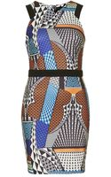 Topshop Tribal Panel Bodycon Dress Multi - Lyst