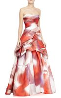 Monique Lhuillier Strapless Silk Tufted Ball Gown Multicolor - Lyst