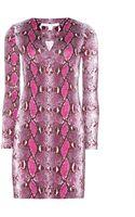 Diane Von Furstenberg Reina Pythonprint Silkjersey Dress - Lyst