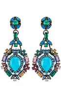 Lanvin Multicolor Crystal Clip Earrings - Lyst