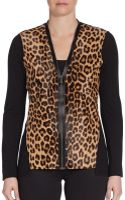 Elie Tahari Leopard-print Calf Hair  Wool Sweater - Lyst