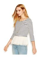 Maison Jules Threequartersleeve Striped Ruffled Top - Lyst