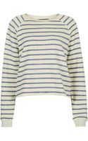 Topshop Womens Tall Stripe Sweat - Cream - Lyst