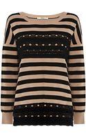 Oasis Lace Detail Stripe Jumper - Lyst